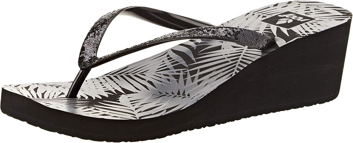 Reef Womens Krystal Star Prints Black Grey Tropical Wedge Sandals Size