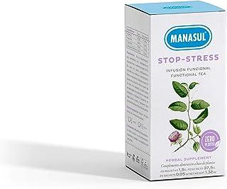 MANASUL - Infusión Relax de Hipérico, Pasiflora y Valeriana. Combate la Ansiedad y Ayuda a Dormir. Stop Stress. Caja de 25 Bolsitas