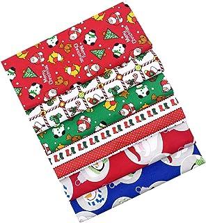 KESYOO 6 Peças de Tecido de Algodão de Natal Pré-Cortadas Retalhos de Tecido Acolchoado Tecido de Costura Verde Vermelho p...