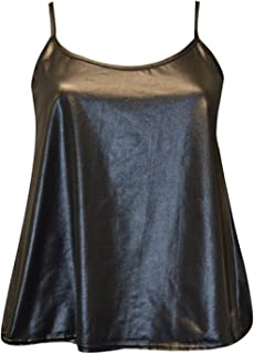 FashionMark Women's New Strappy Wet Look PVC Camisole Vest Top