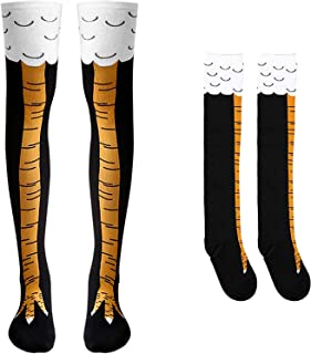 BeYumi Chicken Legs Socks, Unisex Crazy Funny Athletic Running Socks Boots Knee Thigh High Novelty Cosplay Party Costume Socks Christmas Gag Gifts Cluck Legs Knee Sock Size XL