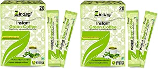 Radhe Zindagi Instant Green Coffee Powder - Natural Green Coffee Beans Extract in Powder Form (Pack of 2)