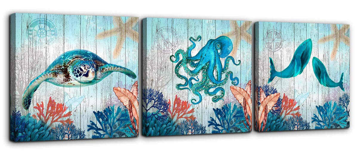 Whales Canvas Art Print Ready To Hang Stretched Canvas Kids Room Wall Art