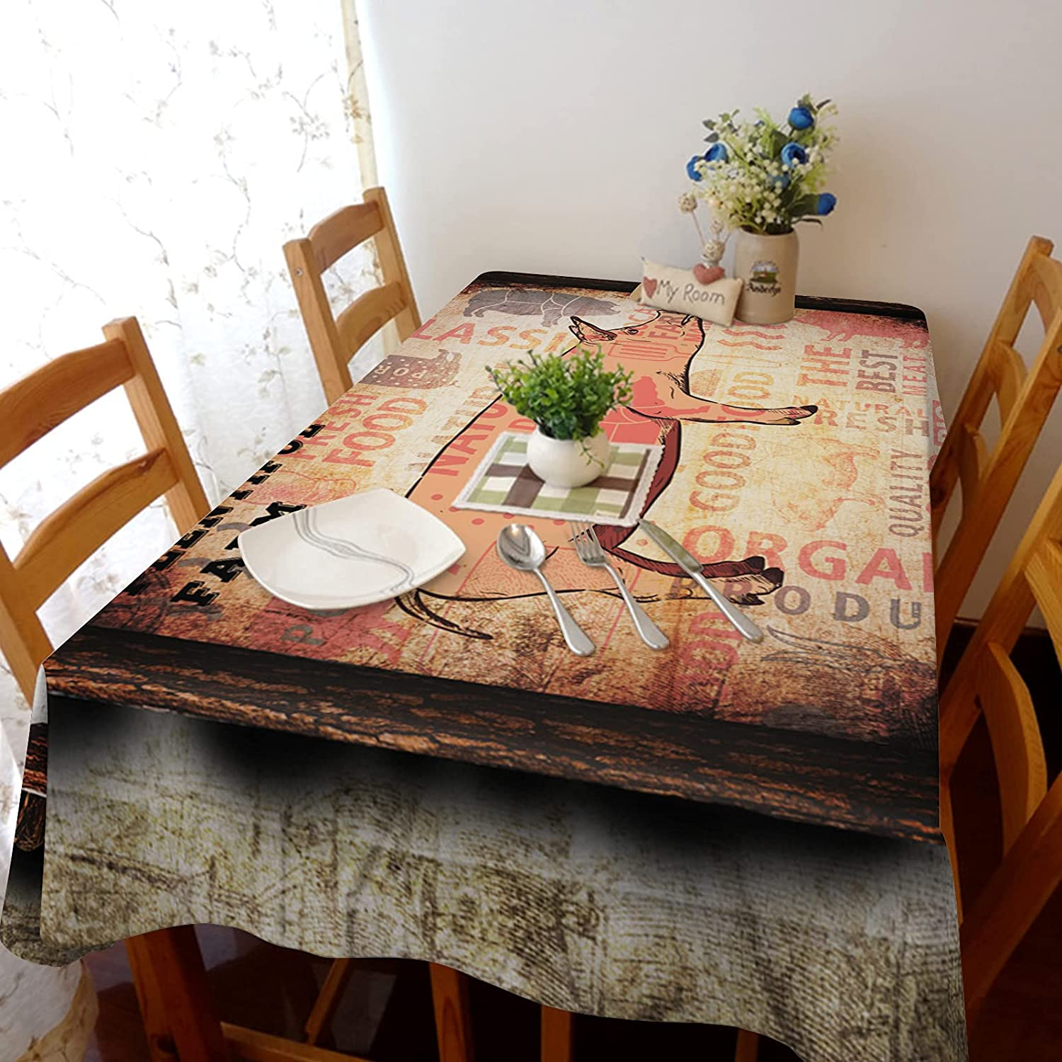 TH Award unisex XHome Tablecloth Linen Burlap Farm Pi Weights Fabric Vintage