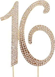 Honbay 16 Cake Topper Premium Sparkly Crystal Rhinestones Cake Topper Cake Decoration for Sweet 16th Birthday Party (16 Gold)