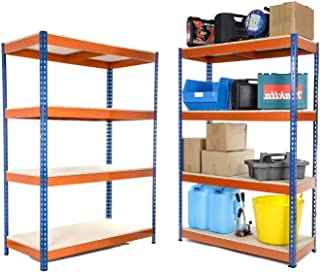 2 estantes resistentes para garaje de 400 kg UDL, 1800 mm de alto x 1200 mm de ancho x 600 mm de profundidad.