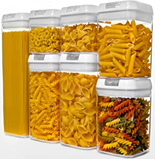 NOLOSHA Airtight Food Storage Containers with Easy-Lock Lid, Cereal Container Set of 7 made of BPA-Free Material Ideal for Cereal, Pasta, Nuts, Spaghetti