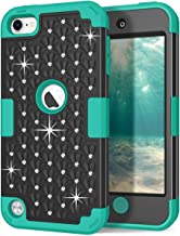 iPod Touch 6th/5th Generation Case, iPod Touch 6/5 Case, Hocase Bling Sparkle Glitter Shockproof Silicone Heavy Duty Protective Hard Case iPod Model A1574/A1509/A1421 - Black/Teal Green