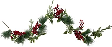 """Northlight 5' x 5"""" Holly and Pine Springs Artificial Christmas Garland - Unlit"""