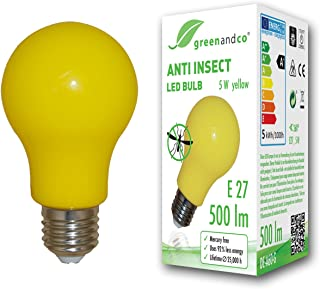 greenandco® Bombilla anti-mosquitos, anti-insectos E27, amarilla, 5W, 500lm, longitud de onda 560-580nm, no regulable