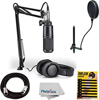 Audio-Technica AT2020 Studio Microphone Pack Top Value Bundle with ATH-M20x Headphone, Boom & XLR Cable + Pop Filter & Ext...