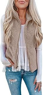 Womens Casual Fuzzy Vest Sleeveless Sherpa Fleeve Zip Up Warm Cardigan Waistcoat Outwear with Pockets
