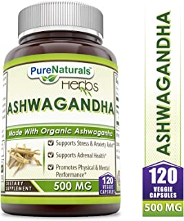 Pure Naturals Ashwagandha, 500 mg, Capsules -Supports Cardiovascular Health & Immune Function* -Helps Reduce Anxiety & Stress* -Promotes Relaxation & Mental Clarity* (120Count)