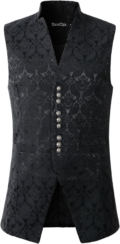 DarcChic Mens Gothic Steampunk Vest Waistcoat Victorian Damask Stand-up Collar Tailcoat