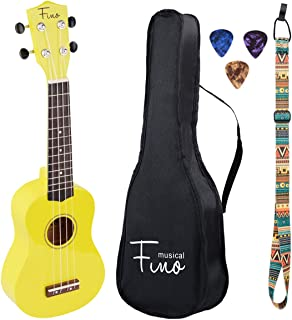 FINO Ukulele Kit for Beginners Rainbow Series,Soprano Ukulele Beginner Pack-21 inch w