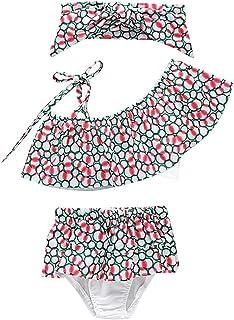 be8e01cfaf11 EOZY-Costume da Bagno Set Bimba Bambina 3 Pezzi Floreale Bikini  Pantaloncini Fascia Estivo da