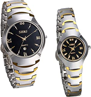 JewelryWe Men's Womens Wrist Watch Tungsten Carbide Calendar Quartz His and Her Couple Watches