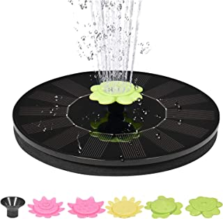1.4W Solar Fountain, 5 Kinds of Water-Shaped Garden Decorative Fountains, Suitable for Bird Bathtubs, Swimming Pools, Aqua...