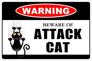 StickerPirate Warning Beware Of Attack Cat 8