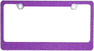 BLVD-LPF OBEY YOUR LUXURY Popular Bling 7 Row Purple Color Crystal Metal Chrome License Plate Frame with Crystal Screw Caps - 1 Frame
