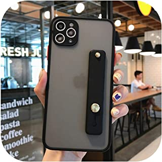Skyyue カメラプロテクションクリアフォンケース、リストS for iPhone 11 Pro Max XR X XS Max 7 8 Plus Soft TPU + PC Matte Phone Cover-Black-for iPhon...