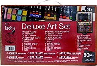 Darice 80-Piece Deluxe Art Set – Art Supplies for Drawing, Painting and More in a Compact, Portable Case - Makes a Great  ...