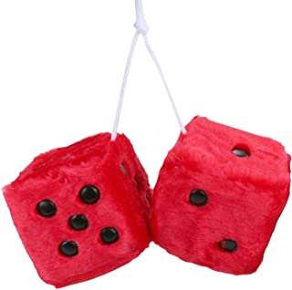 FOURTH Car Fuzzy Hanging Dice,3 inch Pair of Retro Square Mirror Hanging Dice, Couple Fuzzy Plush Dice with Dots for Car Interior Ornament Decoration(Red)