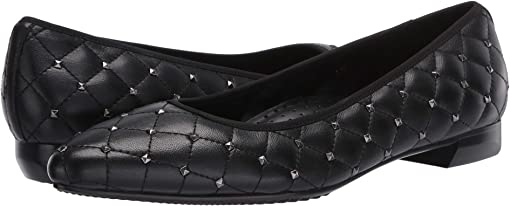 Black Quilted Nappa/Gunmetal Studs