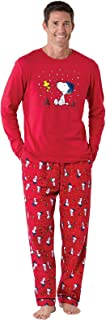 Fun Men Christmas Pajamas - Woodstock & Snoopy Pajamas, Red
