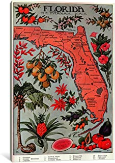 iCanvasART 1 Piece State Map of Florida 'Natural Resources'-Vintage Poster Canvas Print by Unknown Artist, 0.75 x 12 x 18-Inch