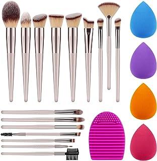 Syntus Makeup Brush Set, 16 Makeup Brushes & 4 Blender Sponges & 1 Brush Cleaner Premium Synthetic Foundation Powder Kabuki Blush Concealer Eye Shadow Champagne Gold Makeup Brush Kit