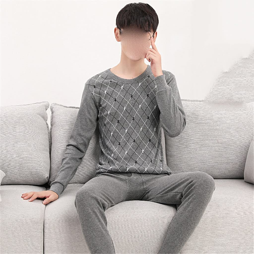SSMDYLYM Two-Piece Men's Thermal Underwear Thin Suit Youth Cotton Sweater Shirt Underwear (Color : C, Size : L Code)