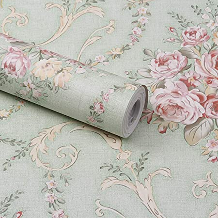 Wolpin Wall Stickers DIY Decals Wallpaper (45 x 500 cm) Damask Flower Self Adhesive, Sage Green