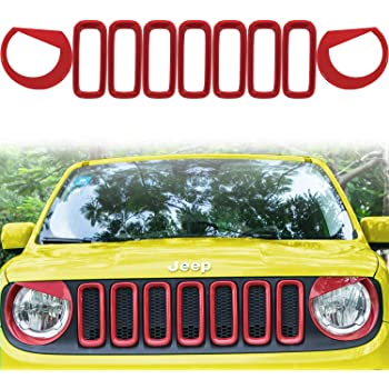 E-cowlboy Front Grille Grill Inserts /& Headlight Covers ABS Front Light Headlight Angry Bird Style Bezels Trim Cover Red Frame Trims Kit for 2015-2018 Jeep Renegade