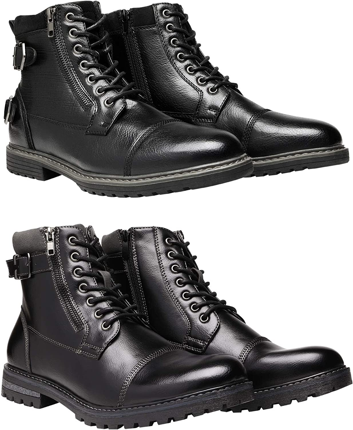 Bruno Marc Men's Motorcycle Boots Bundle with Men's Oxford Boots Size 6.5