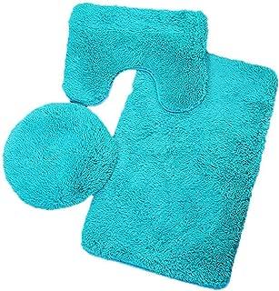 3pc Bathroom Set Rug Contour Mat Toilet Lid Cover Plain Solid Color Bathmats mat Bathroom wereld cat Toilet mats,D