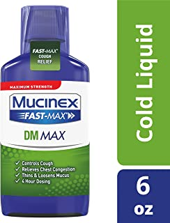 Mucinex Fast-Max DM, Max Strength Chest Congestion Relief with Guaifenesin, Adult Cough Suppressant Liquid, 6 oz