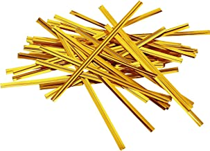 100 Pcs 4 Inch Metallic Twist Ties Wire,Colorful Bag Ties for Cellophane/Party/Cake/Candy/Gift Bag (Gold)