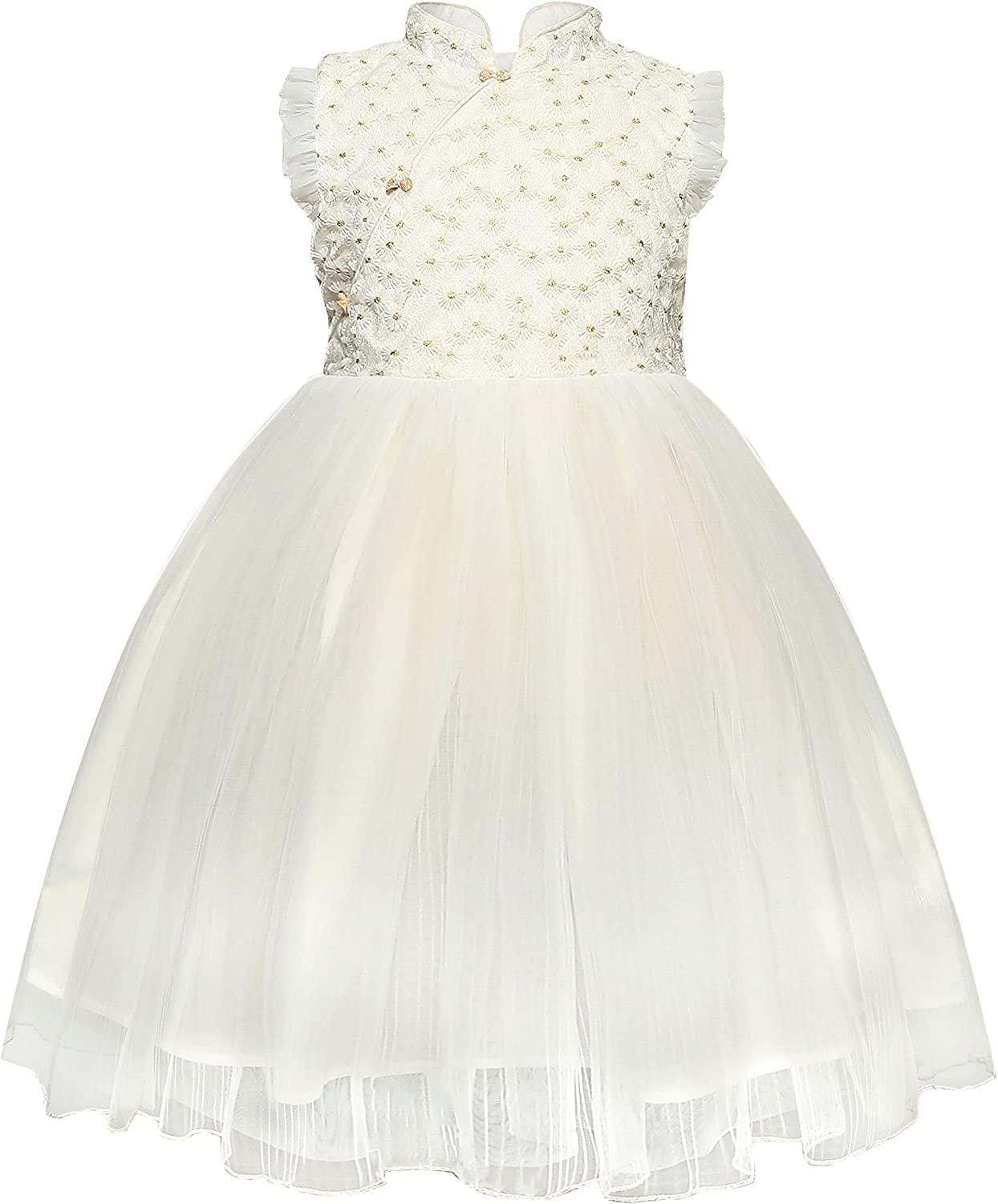 Floral White Flower Girl Junior Bridesmaid Birthday Holiday Dress Wedding Party First Communion Tulle Dress