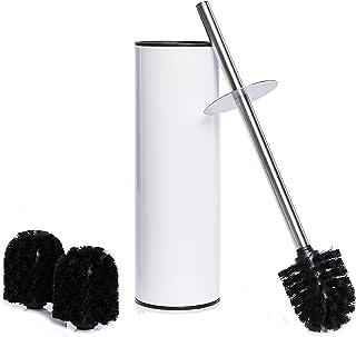 Bamodi Szczotka toaletowa z uchwytem – wolnostojące szczotki toaletowe ze stali nierdzewnej w zestawie 3 głowice szczotki...