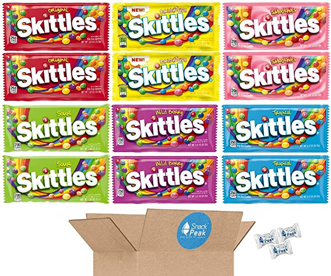 Skittles Variety Snack Peak Gift Box – Brightside, Smoothies, Wild Berry, Original, Sours, and Tropical