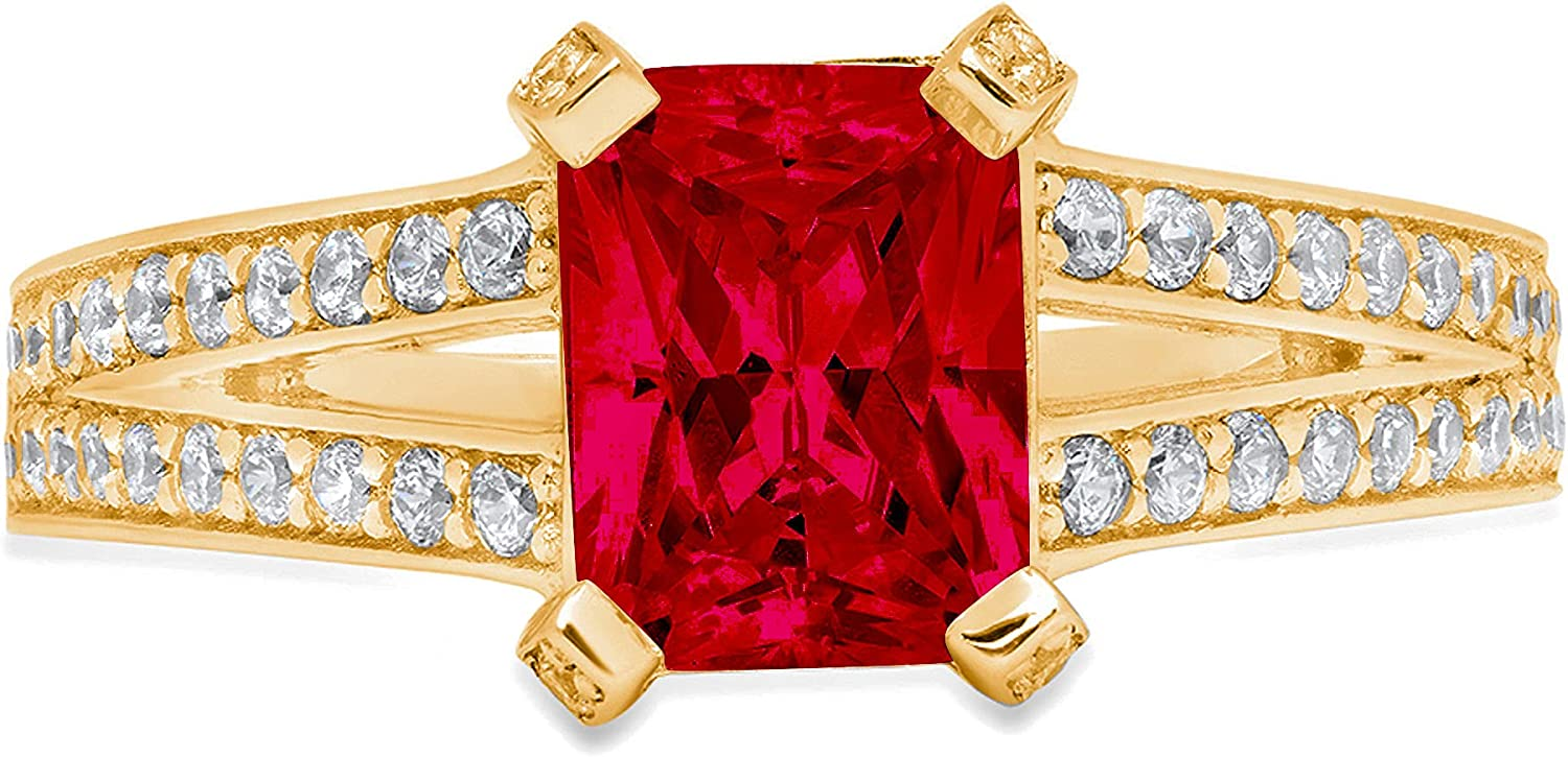 Clara Pucci 2.8 ct Emerald Cut split Solitaire Free shipping anywhere in the nation Accent shank Regular dealer Stun