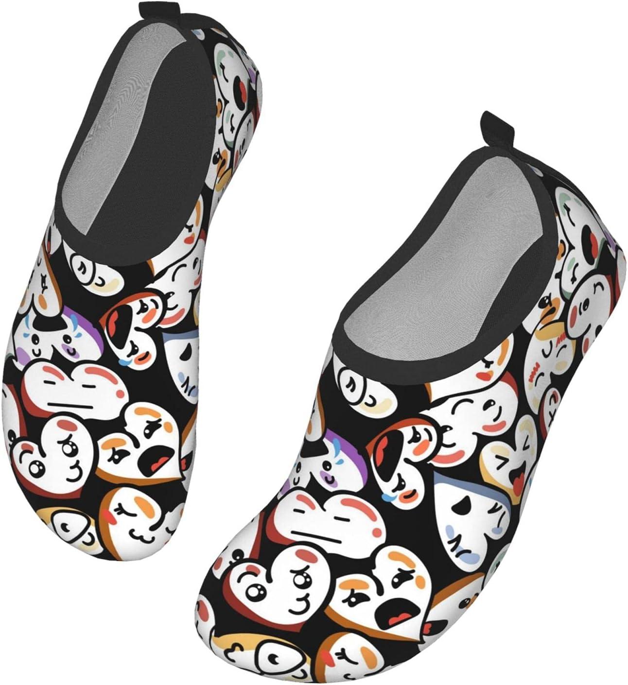 NA Cute Heart Pattern Men's Women's Water Shoes Barefoot Quick Dry Slip-On Aqua Socks for Yoga Beach Sports Swim Surf
