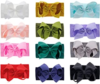 inSowni 12 Pack Super Soft Elastic Nylon Bow Turban Headbands Hairbands Headwraps for Baby Girl Toddlers Infants Newborns