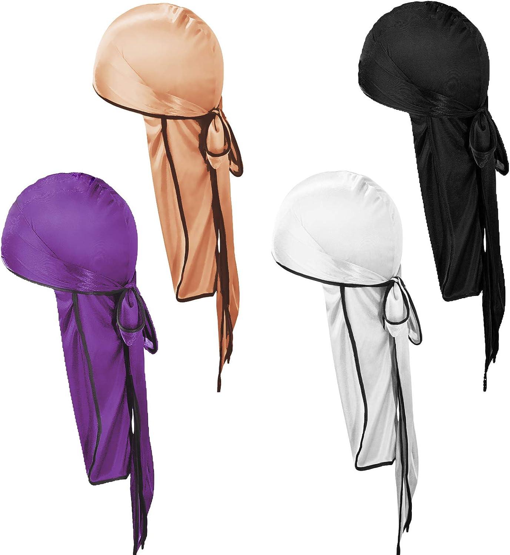 Cappello da uomo Soft Pirate Durag nero, bianco, grigio, blu reale YMHPRIDE 4 pezzi Silky Durag Cappuccio elastico 360 Waves unisex con code lunghe e cinghie larghe per donna Uomo