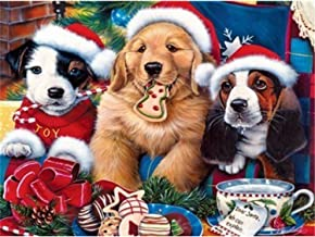 ANMUXI DIY 5D Diamond Painting Round Drills Diamond Art Embroidery Craft Animal Christmas Dogs 30x40CM