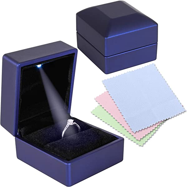 Engagement Wedding Ring Box For Proposal With LED Light And 3 Piece Jewelry Polishing Cloth