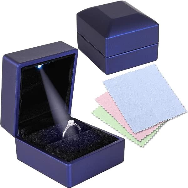 订婚结婚戒指盒,用于提案,配有 led灯和 3 件珠宝抛光布