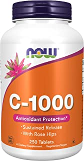 NOW Foods Vitamin C-1000 Sustained Release with Rose Hips 250 Tablets