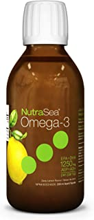NutraSea Omega 3 Fish Oil Supplement, GMO Free Liquid Burpless Fish Oil, Lemon, 200 mL